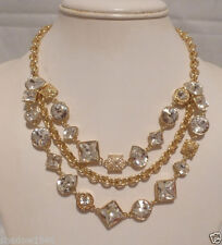 NWT COACH AUTHENTIC GOLD TRIO Strands CRYSTAL CLUSTER NECKLACE 96350