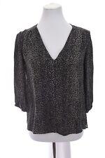 Joie Womens 100% Silk Chiffon Popover Blouse Top Leopard Print Gray Sz XS