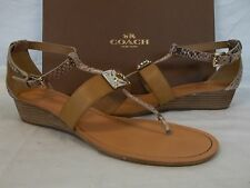 Coach Size 9 M Ines Natural Leather T-Strap Wedges New Womens Shoes