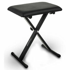 More details for black piano stool keyboard bench padded seat cushion chair adjustable height