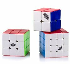 Cyclone Boys Magic Cubes 2X2 3X3 4X4  Stickerless Puzzle Speed Cubes Toy 3 Pack