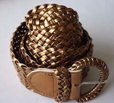 "Wide Braided Belt Metallic Copper Gold Color 2"" Cinch Dress Up Fashion"