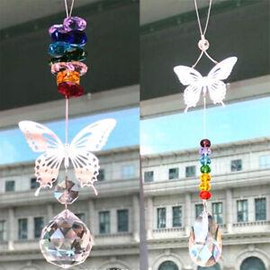 Wall Hanging Butterfly Crystal Ball Prism Rainbow Hanging Suncatcher Handmade