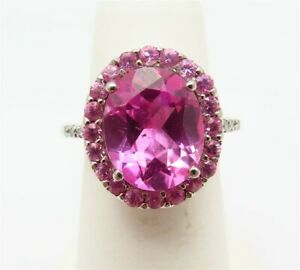 14K White Gold Oval Pink Sapphire Center Pink Topaz & Diamond Accent Halo Ring
