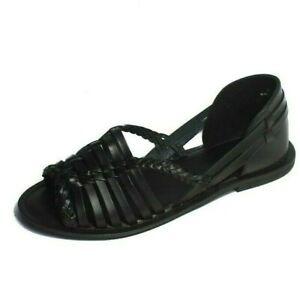 Warehouse Black Flat Leather Summer Lattice Huarache Comfy Shoes Size UK 3-8