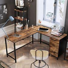 L-förmiger Computertisch, Eckschreibtisch, Bürotisch mit Schrank und Schublade