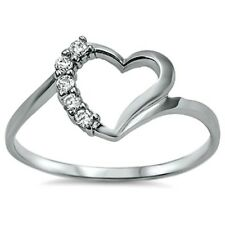 .925 Sterling Silver Ring size 5 CZ HEART Promise Engagement Bridal Midi New x21