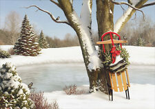 Sled Leaning Against Tree - Box of 18 Alan Giana Christmas Cards
