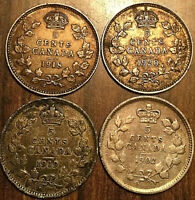 LOT OF 4 CANADA SILVER 5 CENTS ALL DIFFERENT - Good quality coins between F-VF+