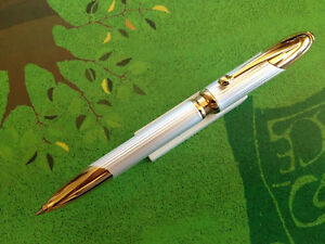 Lovely Vintage Cougar Ball Point Pen Ribbed Silver Gold Trim