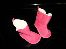 Rising Star Boots Baby Girl'S Crib Shoes~Faux Fur Bright Pink Suede Boots!