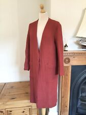Zara Burgundy Linen Long Duster Coat With Pockets Size S UK10 Bnwt