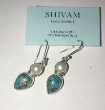 Shivam Made In India Sterling Silver, Copper Blue Turquoise, Pearl Earrings