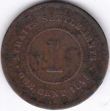 1875 Straits Settlements 1 Cent***Collectors***Copper***