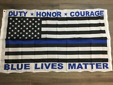 Police Blue Lives Matter American Flag Duty Honor Courage Usa Us Thin Blue Line