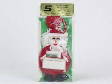 VINTAGE New Old Stock Chrismas SANTA FELT ORNAMENTS Made In JAPAN