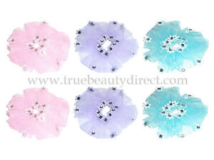 6 x HAIRBANDS WITH SHEER ORGANZA FABRIC & FLOWERS WITH GEMS PINK BLUE & PURPLE