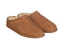 KirklandSignature Men's Shearling Clog Slipper, Chestnut Brown