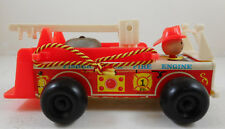 Vintage 1968 Fisher-Price Little People Wooden 720 Fire Engine Fire Truck 8""