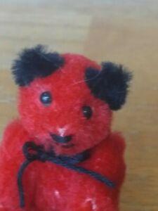 Antique Vintage miniature plush red Schuco Heike Teddy bear 2.5in EUC