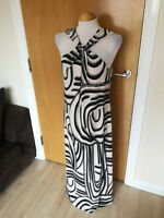 Ladies Dress Size 14 M&Co Black Cream Long Maxi Stretch Slinky Smart Day Party