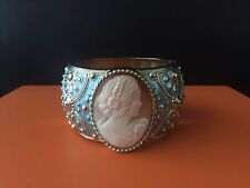 """Amedeo """"Piazzetta"""" Carved Cameo Bangle Bracelet"""