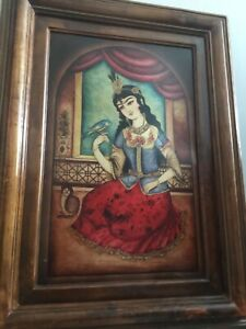 Persian paintings, hand painted on leather