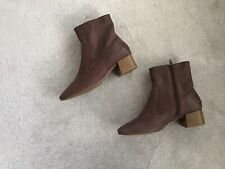 Ladies Brown Leather Ankle Boots M&S Collection Low Heel Insolia Ex Con Size 4