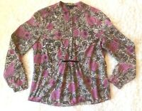 BODEN Womens 16 Popover Tunic Top Shirt Floral Flowy Cotton Pink Brown Black EUC