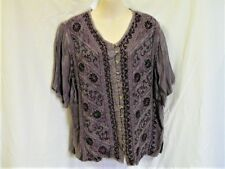 "PURPLE EMBROIDERED TOP ""FREE SIZE"" 12 to 16 AUZ  ""NWT"" RRP $42 .C16"