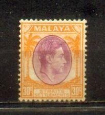 1937 Malaya Malaysia Straits Settlements 30c Mint Hinged CV 100