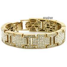 "NEW ICED OUT GOLD PLATED MICRO PAVE SIMULATED DIAMOND 8.5"" BRACELET KB026G"