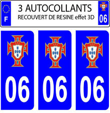 3 stickers plaque immatriculation auto PORTUGAL FPF N° 06