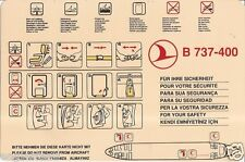 Safety Card - THY Turkish Airlines - B737 400 - 3 Red Crescent (S3393)