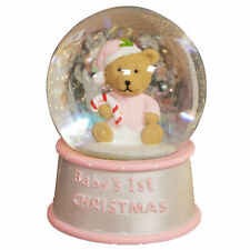 Baby's 1st Christmas Snow Globe with Teddy - Pink