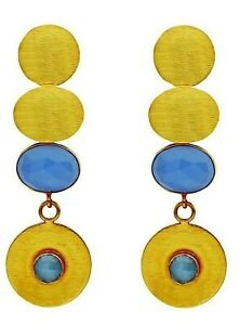 New 18K Gold Plated Dangling Earrings With Multi Faceted Blue Chalcedony Detail