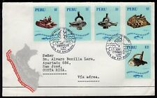 304 PERU TO CHILE CIRCULATED FDC COVER 1971 FISH ARCHAEOLOGY LIMA - SANTIAGO