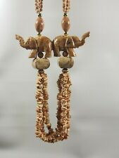 Carved Stone Elephant Chunky Necklace with Stone Beads Goldtone Accents Safari