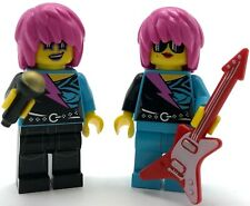 LEGO 2 NEW ROCKER BAND GIRL MINIFIGURES WITH RED GUITAR AND MICROPHONE PIECES