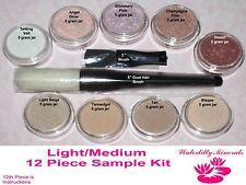 12 Pc Lot Minerals Set Bare Makeup Foundation Kit Lt/Med Sample Sizes New/Sealed