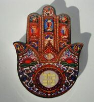 Jerusalem Ceramic Hamsa Hand MAGNET Kabbalah Lucky MAZAL protection Success