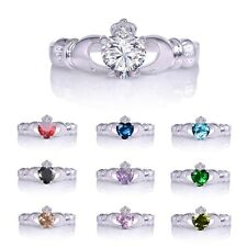 Irish Crown Heart Claddagh Promise Ring 10KT White Gold Filled Jewellery Sz 6-10
