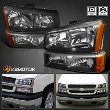 2003-2007 Chevy Silverado Black Headlights+Bumper Parking Lights Lamps 4PC