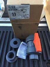 "NEW Chemtrol 1/2"" True Union Ball Valve PVC U45TB-V FKM Free Shipping!"