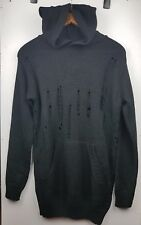 Boohoo MAN Black Hoodie Long Jumper Pullover Knit Size M