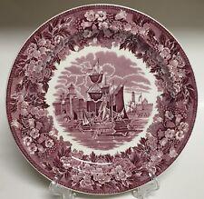 "Wedgwood Ferrara Plum Transferware Dinner Plate 10"" Ship Etruria Barlaston"