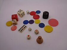 VINTAGE MINATURE DICE,COUNTERS GAME PIECES DOMINOE JOB LOT PARTS FOR BOARD GAMES