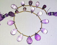 Gorgeous Amethyst Faceted Drops Briolette Gemstone Beads 6x10-9x15mm 8 Inch