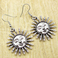 Shining SUN Earrings 2 Inches ! 925 Silver Plated Standout Style Jewelry NEW