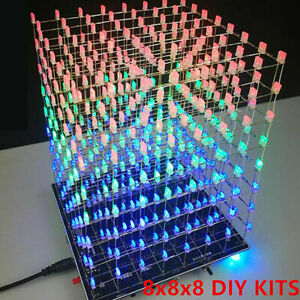 8x8x8 Music Spectrum 3D LED Light Cube DIY Set 8S Electronic 5V with Template